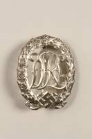 2011.259.5 front DRL Sport Badge, silver grade with swastika, owned by German Jewish refugee  Click to enlarge