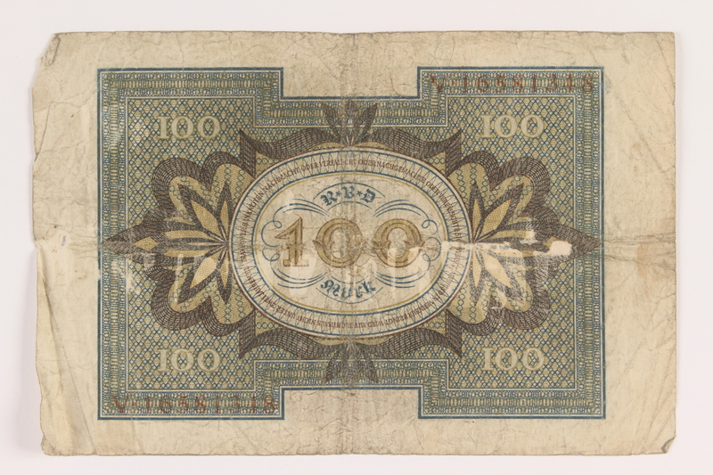 2011.259.18 back Weimar Germany, 100 mark note, saved by German Jewish refugee