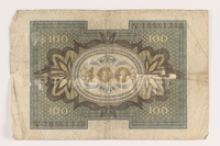 2011.259.18 back Weimar Germany, 100 mark note, saved by German Jewish refugee  Click to enlarge