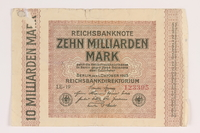 2011.259.19 front Weimar Germany, 10 billion mark note, saved by German Jewish refugee  Click to enlarge
