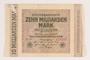 Weimar Germany, 10 billion mark note, saved by German Jewish refugee