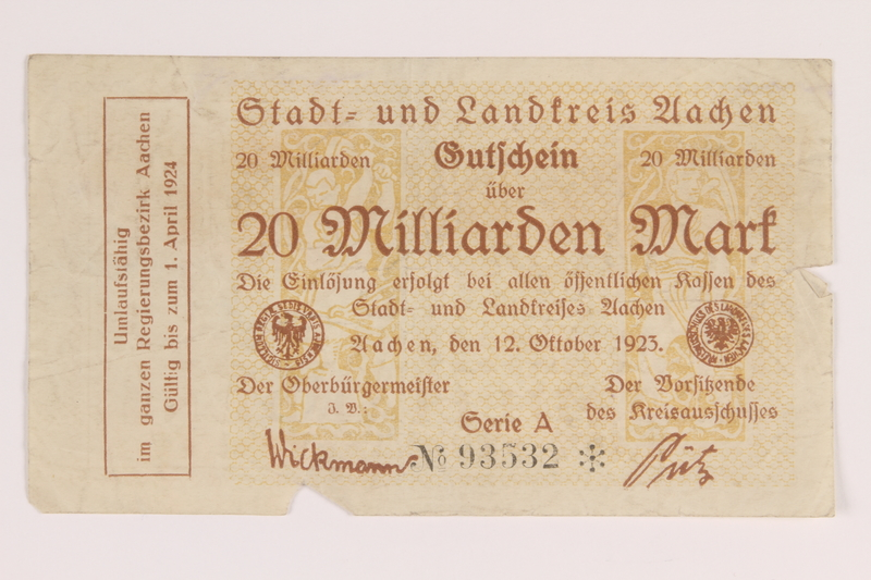 2011.259.20 front Aachen District, 20 billion mark note, saved by German Jewish refugee
