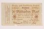 Aachen District, 20 billion mark note, saved by German Jewish refugee