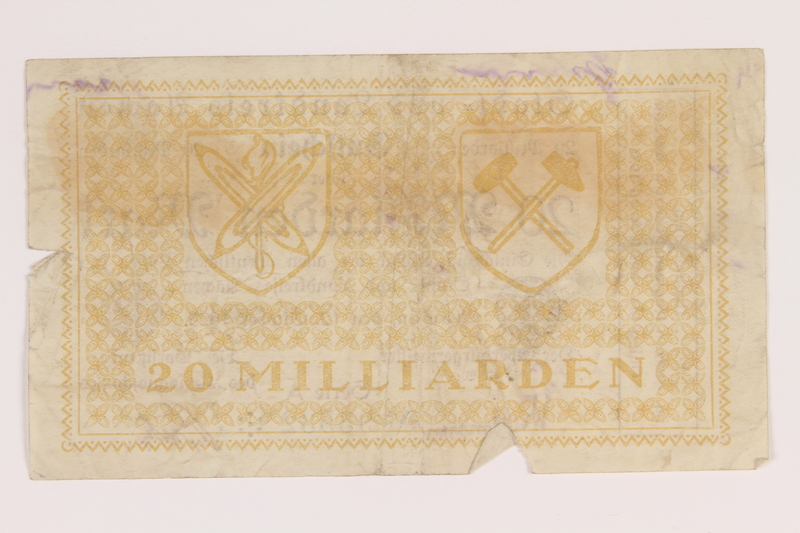 2011.259.20 back Aachen District, 20 billion mark note, saved by German Jewish refugee