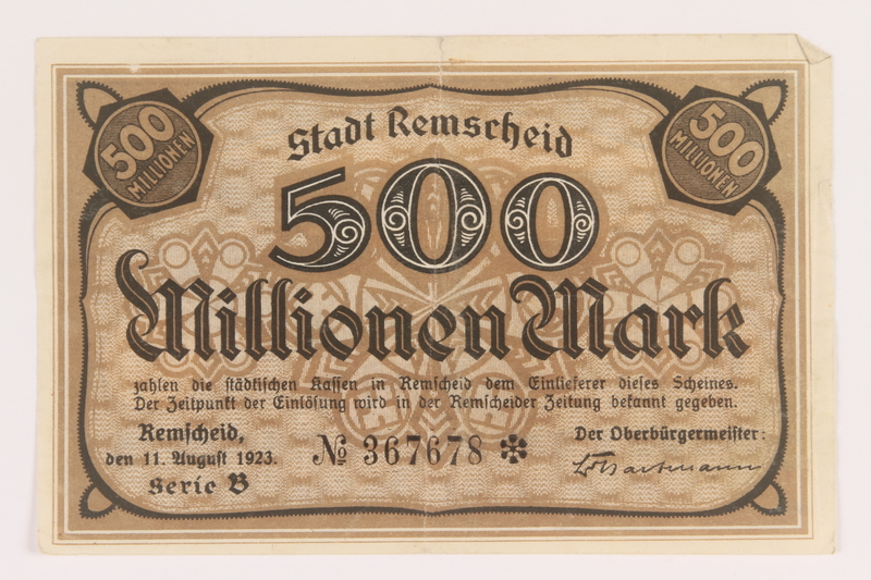2011.259.21 front Remscheid 500 million mark note, saved by German Jewish refugee