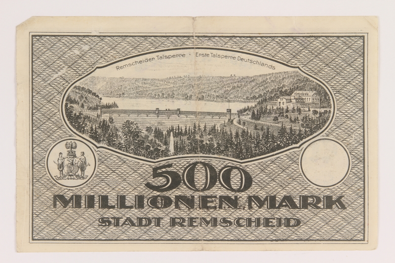 2011.259.21 back Remscheid 500 million mark note, saved by German Jewish refugee