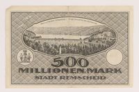 2011.259.21 back Remscheid 500 million mark note, saved by German Jewish refugee  Click to enlarge