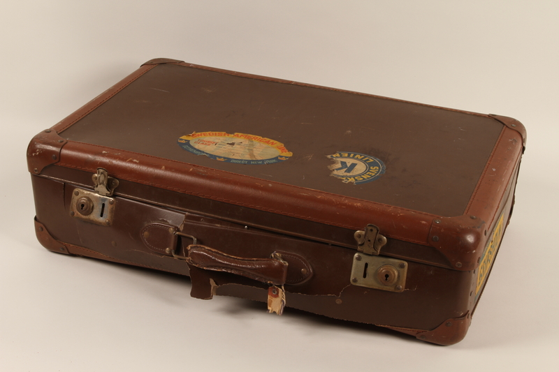 2011.281.2 closed Lightweight brown suitcase carried by a Jewish Austrian refugee child