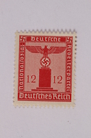 2005.375.1 front Postage stamp, 12 pfennig, from the Official Series of 1938 issued by Nazi Germany  Click to enlarge