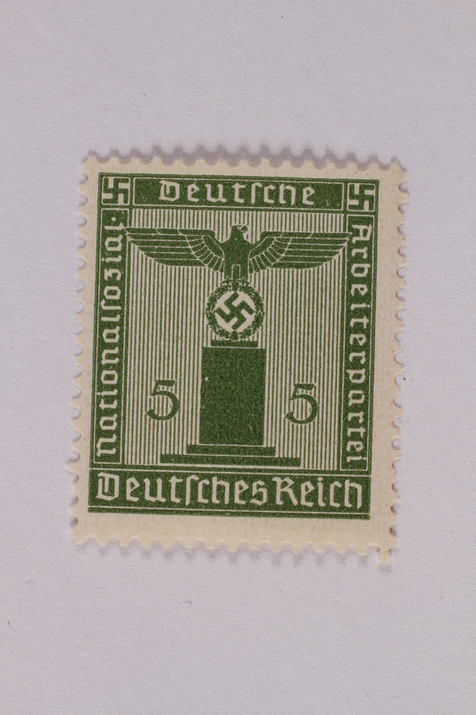 2005.375.2 front Postage stamp, 5 pfennig, from the Official Series of 1938 issued by Nazi Germany