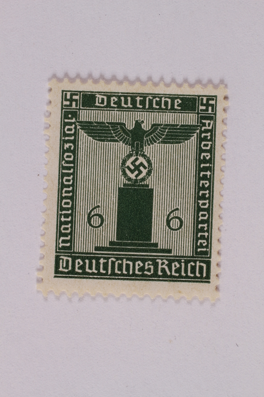 2005.375.3 front Postage stamp, 6 pfennig, from the Official Series of 1938 issued by Nazi Germany