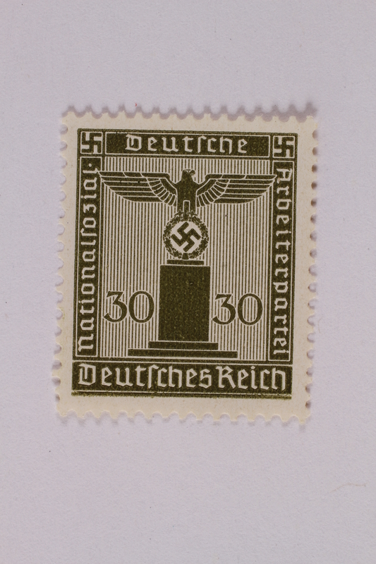 2005.375.4 front Postage stamp, 30 pfennig, from the Official Series of 1938 issued by Nazi Germany