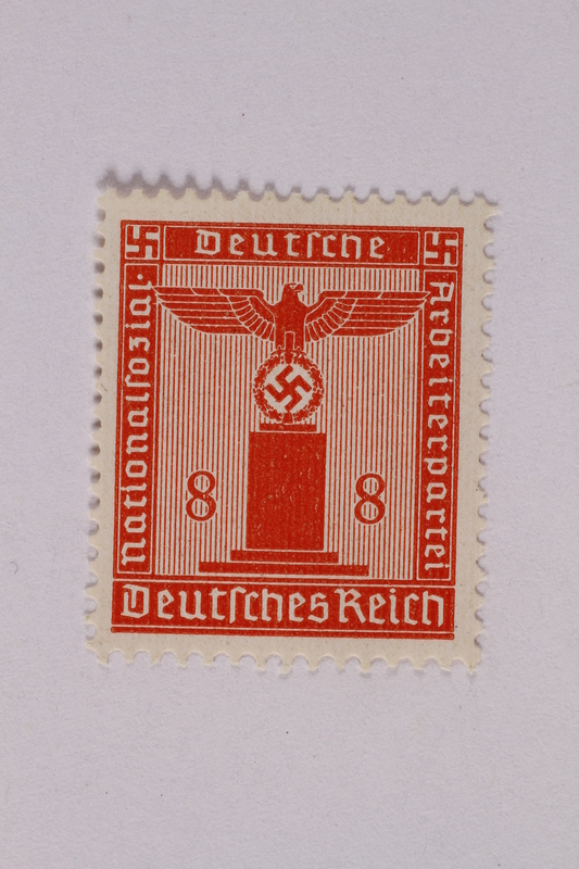 2005.375.5 front Postage stamp, 8 pfennig, from the Official Series of 1938 issued by Nazi Germany