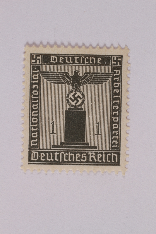 2005.375.6 front Postage stamp, 1 pfennig, from the Official Series of 1938 issued by Nazi Germany