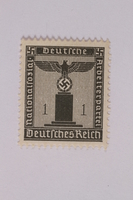 2005.375.6 front Postage stamp, 1 pfennig, from the Official Series of 1938 issued by Nazi Germany  Click to enlarge