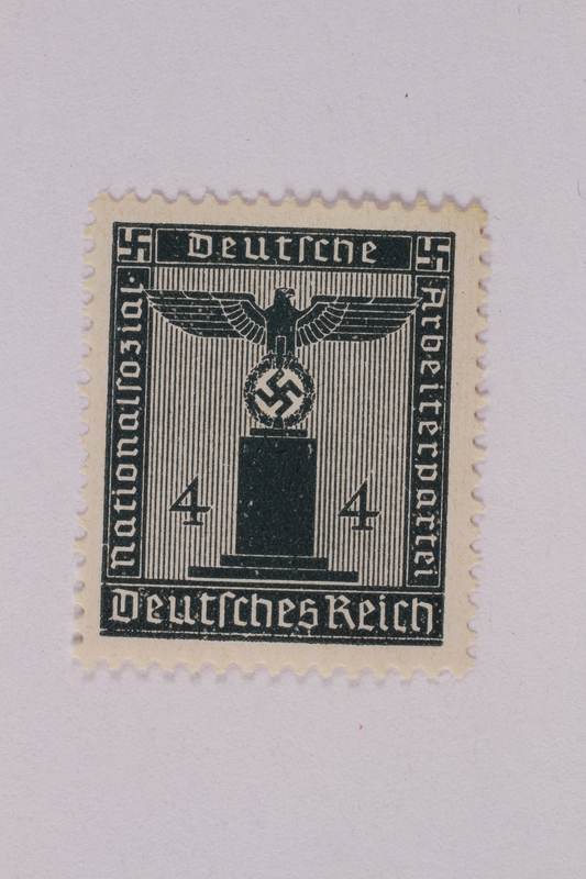 2005.375.7 front Postage stamp, 4 pfennig, from the Official Series of 1938 issued by Nazi Germany