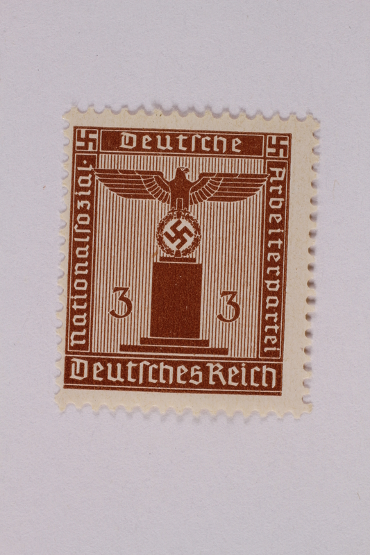 2005.375.8 front Postage stamp, 3 pfennig, from the Official Series of 1938 issued by Nazi Germany
