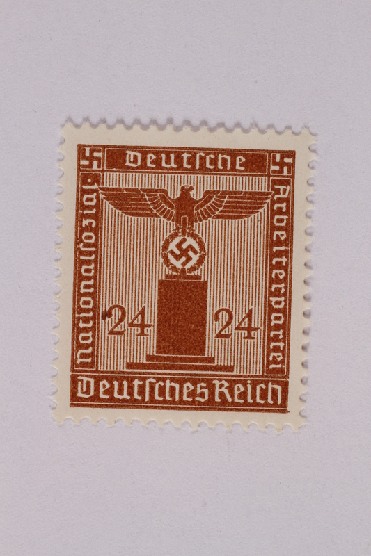 2005.375.9 front Postage stamp, 24 pfennig, from the Official Series of 1938 issued by Nazi Germany