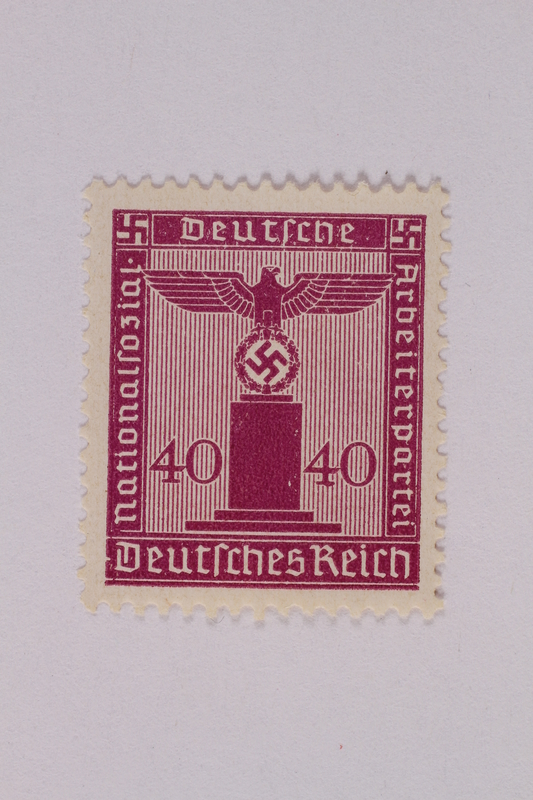 2005.375.10 front Postage stamp, 40 pfennig, from the Official Series of 1938 issued by Nazi Germany