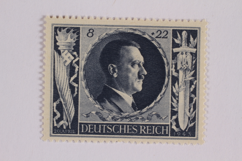 2005.375.11 front Postage stamp, 8 Reichsmarks +22 schillings, issued for the birthday of Adolf Hitler