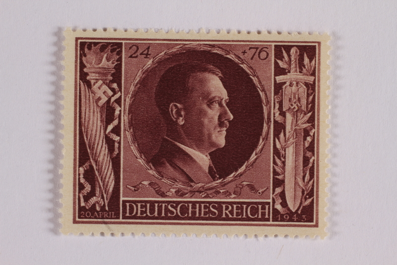 2005.375.12 front Postage stamp, 24 Reichsmarks +76 schillings, issued for the birthday of Adolf Hitler