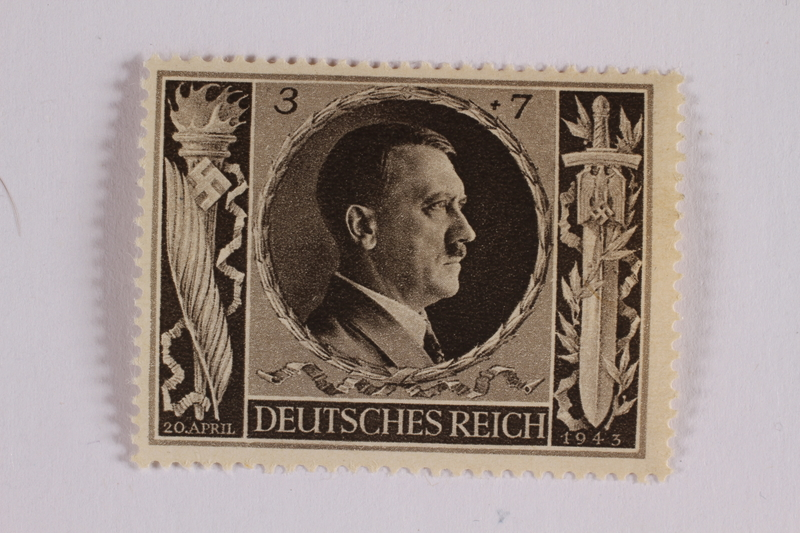 2005.375.13 front Postage stamp, 3 Reichsmarks +7 schillings, issued for the birthday of Adolf Hitler
