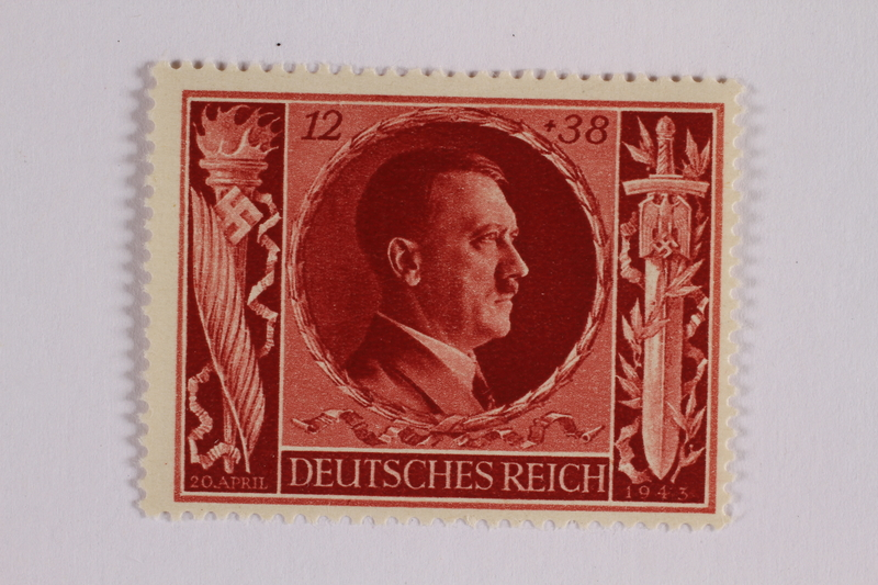 2005.375.14 front Postage stamp, 12 Reichsmarks +38 schillings, issued for the birthday of Adolf Hitler