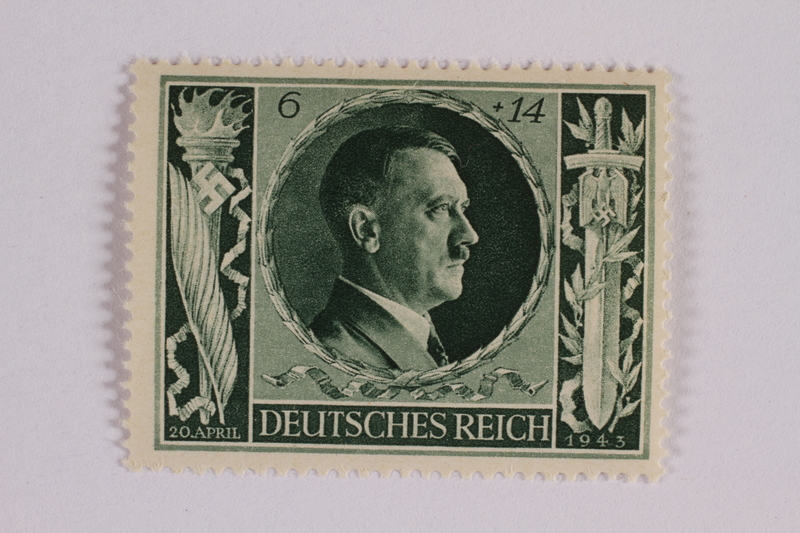 2005.375.15 front Postage stamp, 6 Reichsmarks +14 schillings, issued for the birthday of Adolf Hitler