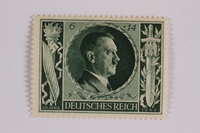 2005.375.15 front Postage stamp, 6 Reichsmarks +14 schillings, issued for the birthday of Adolf Hitler  Click to enlarge