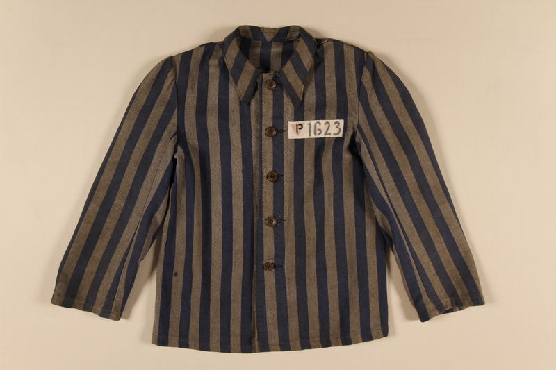 1991.160.3 front Concentration camp uniform jacket issued to a Polish Christian inmate