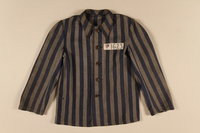 1991.160.3 front Concentration camp uniform jacket issued to a Polish Christian inmate  Click to enlarge
