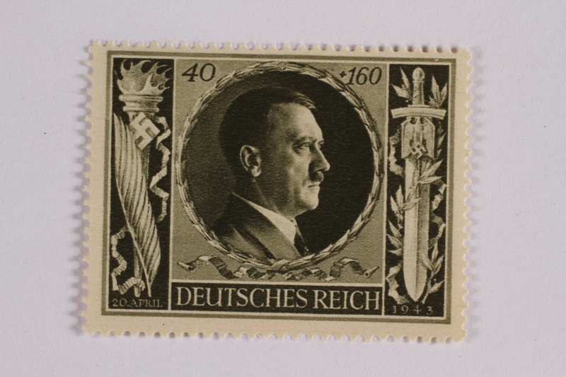 2005.375.16 front Postage stamp, 40 Reichsmarks +160 schillings, issued for the birthday of Adolf Hitler