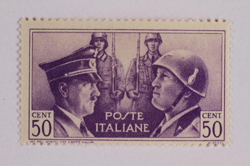 2005.375.17 front Postage stamp, 50 centimes, issued by Italy to honor German-Italian friendship