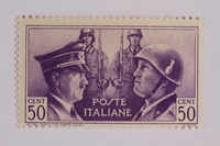 2005.375.17 front Postage stamp, 50 centimes, issued by Italy to honor German-Italian friendship  Click to enlarge