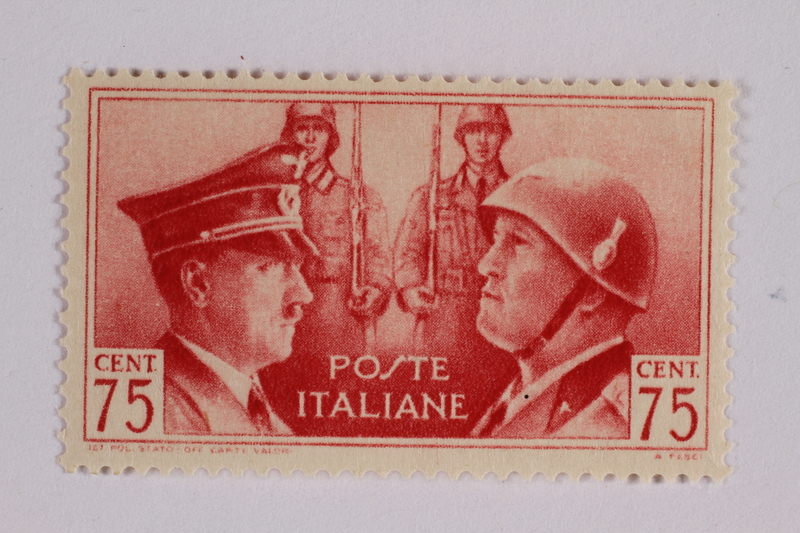 2005.375.18 front Postage stamp, 75 centimes, issued by Italy to honor German-Italian friendship