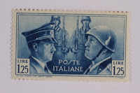 2005.375.19 front Postage stamp, 1.25 lira, issued by Italy to honor German-Italian friendship  Click to enlarge