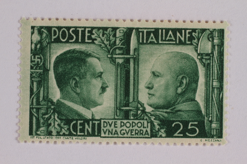 2005.375.21 front Postage stamp, 25 centimes, issued by Italy to honor the German-Italian wartime alliance