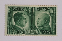 2005.375.21 front Postage stamp, 25 centimes, issued by Italy to honor the German-Italian wartime alliance  Click to enlarge
