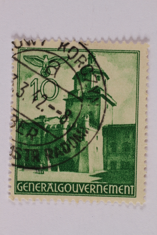 2005.375.22 front Postage stamp, 10 zloty, featuring the Krakow gate, Lublin, issued in German occupied Poland