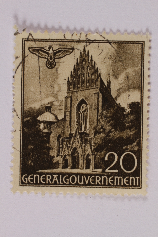 2005.375.24 front Postage stamp, 20 zloty, featuring the Dominican Church, Krakow, issued in German occupied Poland