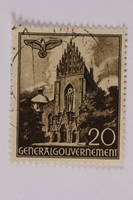 2005.375.24 front Postage stamp, 20 zloty, featuring the Dominican Church, Krakow, issued in German occupied Poland  Click to enlarge