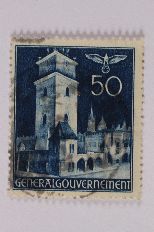 2005.375.25 front Postage stamp, 50 zloty, featuring the Town Hall Tower, Krakow, issued in German occupied Poland