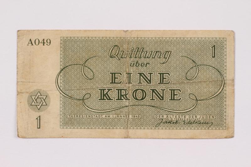1991.161.1 back Theresienstadt ghetto-labor camp scrip, 1 krone note