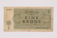 1991.161.1 back Theresienstadt ghetto-labor camp scrip, 1 krone note  Click to enlarge