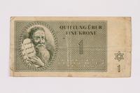 1991.161.1 front Theresienstadt ghetto-labor camp scrip, 1 krone note  Click to enlarge