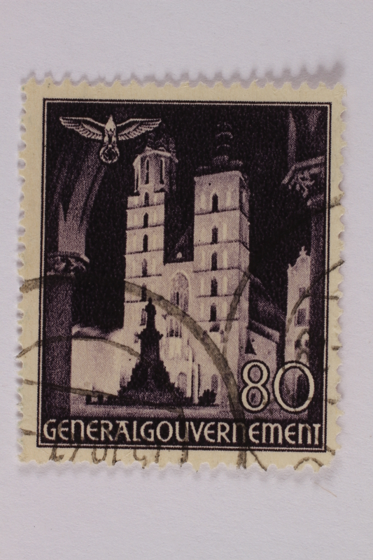 2005.375.26 front Postage stamp, 80 zloty, featuring Saint Mary's Basilica, Krakow, issued in German occupied Poland