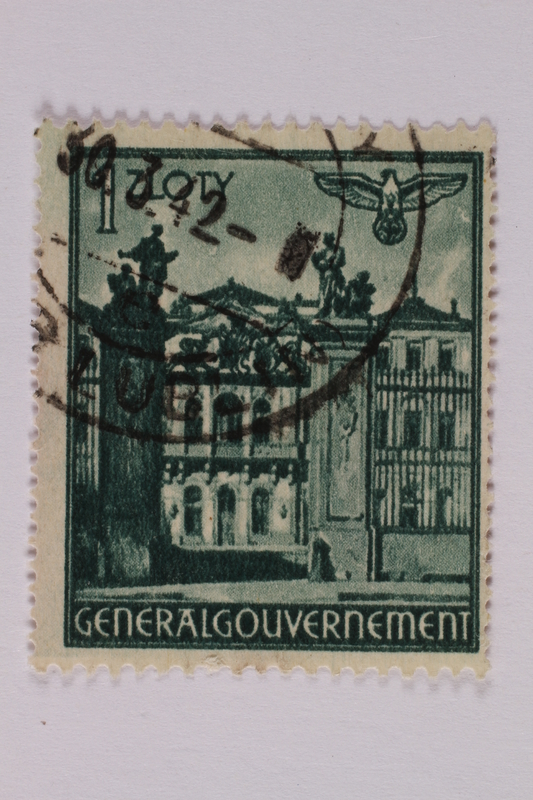 2005.375.27 front Postage stamp, 1 zloty, featuring Bruhlsche Palace, Warsaw, issued in German occupied Poland