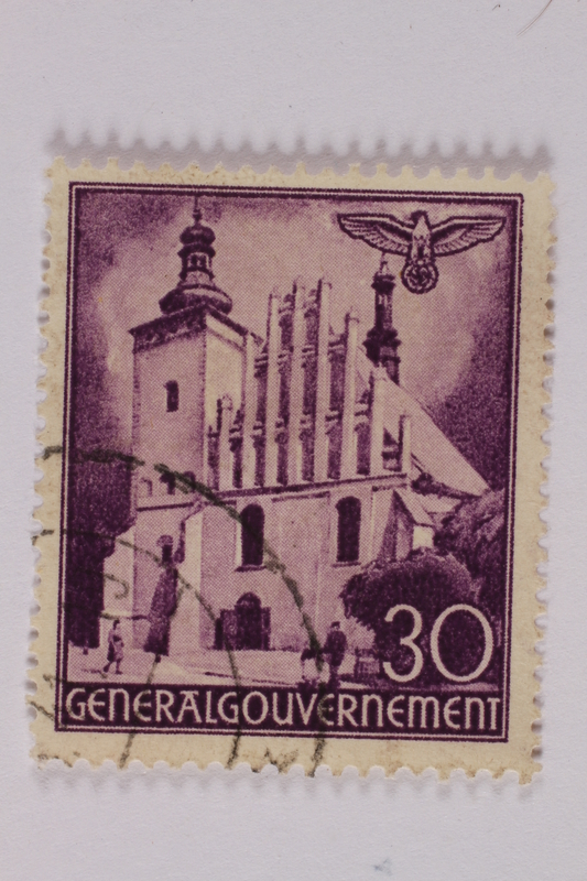2005.375.28 front Postage stamp, 30 zloty, featuring St. Brigit's Church, Lublin, issued in German occupied Poland