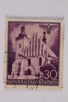 2005.375.28 front Postage stamp, 30 zloty, featuring St. Brigit's Church, Lublin, issued in German occupied Poland  Click to enlarge