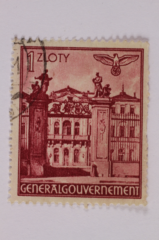 2005.375.29 front Postage stamp, 1 zloty, featuring Bruhlsche Palace, Warsaw, issued in German occupied Poland